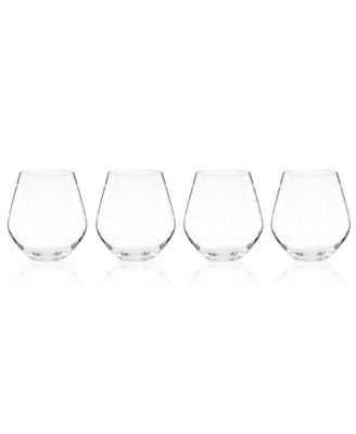 Set of 4 Larabee Dot Stemless Red Wine Glasses