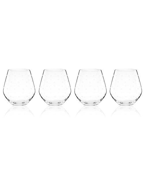 2d391e41b04 kate spade new york Set of 4 Larabee Dot Stemless Red Wine Glasses ...