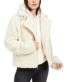 Fuzzy Zip-Up Motorcycle Jacket