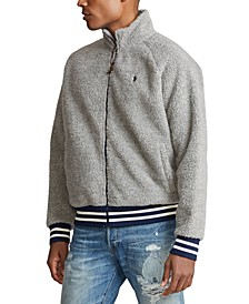 Men's Vintage Sherpa Zip-Front Knit Sweatshirt