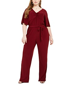 Plus Size Twist Neck Jumpsuit
