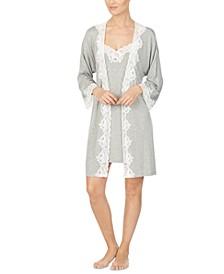 Lace-Trim Kimono Robe