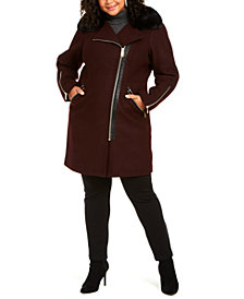 Michael Michael Kors Plus Size Faux-Fur-Trim Asymmetrical Coat