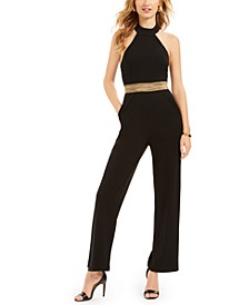 Juniors' Glitter-Waist Jumpsuit