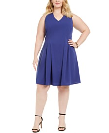 Teeze Me Juniors' Plus Size Sleeveless Fit & Flare Dress