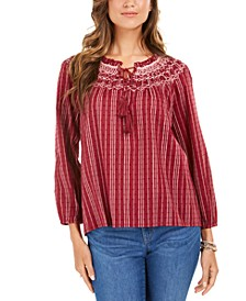 Petite Striped Textured Top, Created For Macy's
