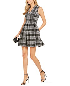 V-Neck Plaid Fit & Flare Dress