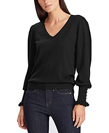 Button-Cuff Long-Sleeve Sweater