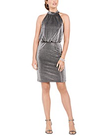 Sleeveless Metallic Halter Dress