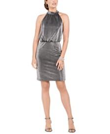 Vince Camuto Petite Metallic Blouson Halter Dress