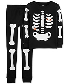 Carter's Little & Big Boys 2-Pc. Cotton Glow-In-The-Dark Skeleton Pajama Set