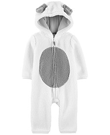 Baby Boys & Girls Hooded Faux-Sherpa Dog Jumpsuit