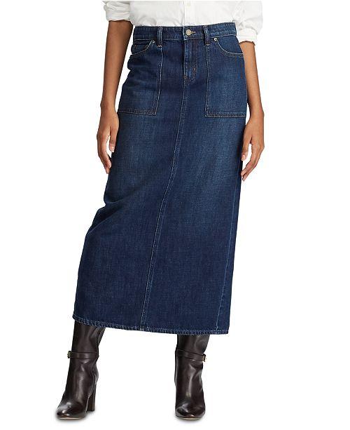 Lauren Ralph Lauren Cotton Denim Maxiskirt