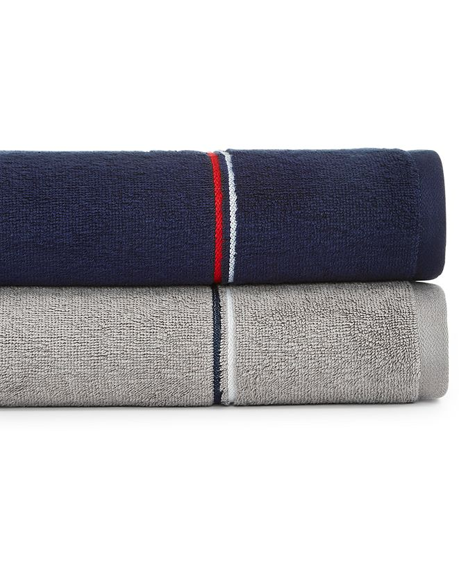 "Tommy Hilfiger Modern American Double Stripe  30"" x 54"" Cotton Bath Towel"