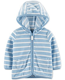 Baby Boys Striped Zip-Up Fleece Cardigan