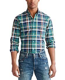 폴로 랄프로렌 Polo Ralph Lauren Mens Classic Button-Down Oxford Shirt,Celtic Green/sun Multi