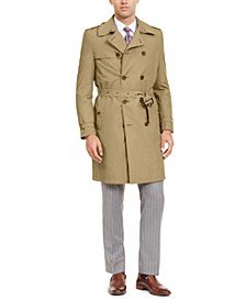 Men's Slim-Fit Double Breasted Military Raincoat