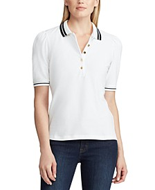 Puff-Sleeve Stretch Piqué Polo Shirt