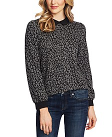 Collared Animal-Print Blouse