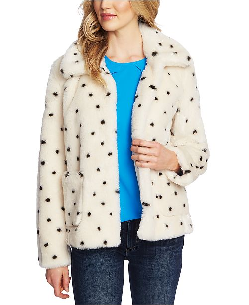 CeCe Printed Faux-Fur Coat