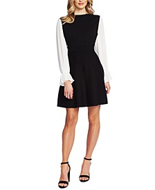 Cotton Contrast-Sleeve Sweater Dress