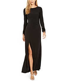 Faux-Feather Ruched Slit Gown