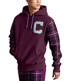 Champion Men's Reverse Weave Plaid Colorblocked Hoodie