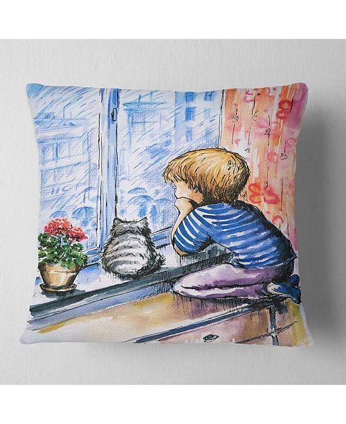 """Design Art Designart Little Boy And Cat Watching City Modern Portrait Throw Pillow - 16"""" X 16"""""""