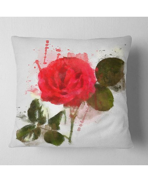 "Design Art Designart Red Rose With Green Petals Floral Throw Pillow - 18"" X 18"""