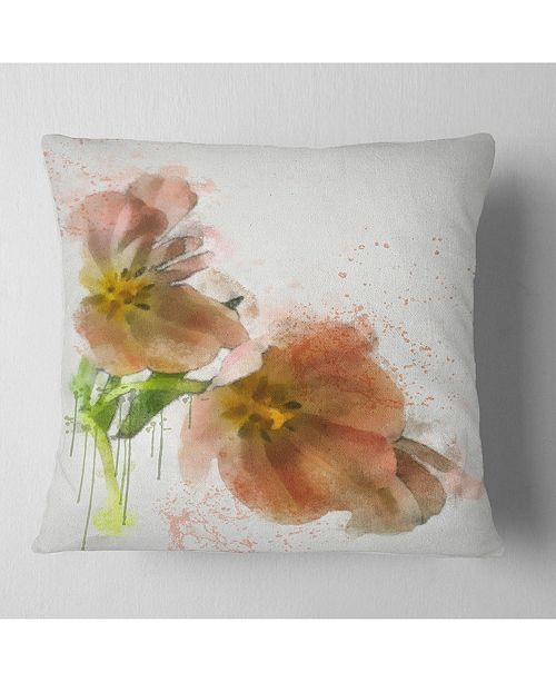 "Design Art Designart Brown Tulips Sketch Watercolor Floral Throw Pillow - 18"" X 18"""