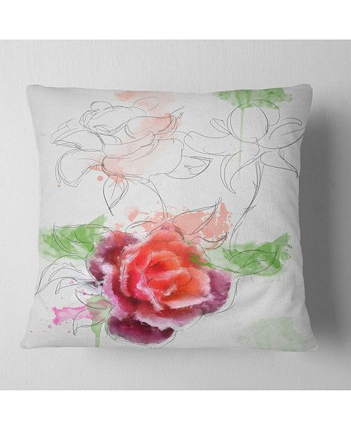 "Design Art Designart Beautiful Rose With Rose Sketches Floral Throw Pillow - 18"" X 18"""