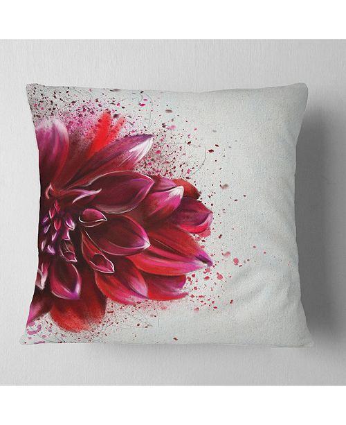 "Design Art Designart Dark Red Watercolor Rose Flower Floral Throw Pillow - 16"" X 16"""