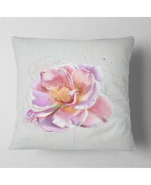 "Design Art Designart Cute Watercolor Pink Rose Sketch Flowers Throw Pillowwork - 18"" X 18"""