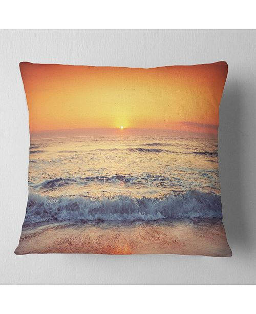 "Design Art Designart Yellow Cloudscape Over Seashore Beach Throw Pillow - 16"" X 16"""