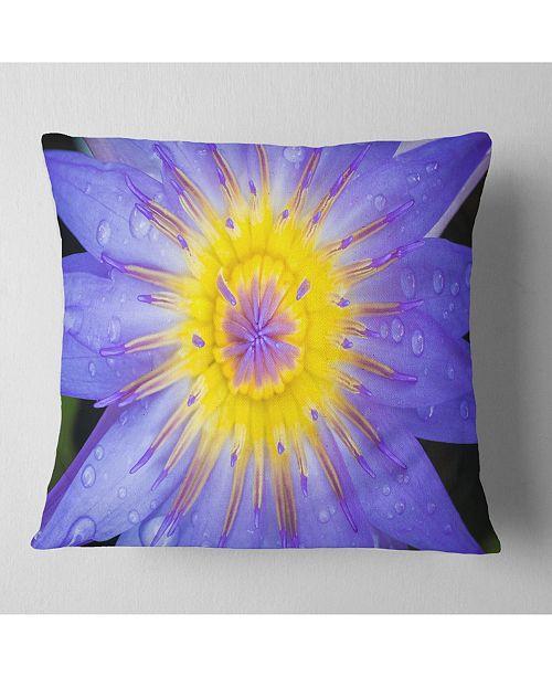 "Design Art Designart Blooming Violet Lotus Close Up Flowers Throw Pillowwork - 16"" X 16"""