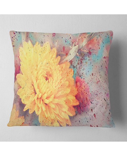 "Design Art Designart Aster Flower With Watercolor Splashes Flower Throw Pillow - 16"" X 16"""