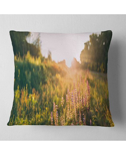 "Design Art Designart Bloomy Glade Of Wild Flowers Landscape Printed Throw Pillow - 16"" X 16"""