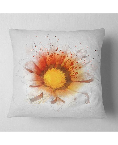 "Design Art Designart Yellow Orange Flower Watercolor Flower Throw Pillow - 18"" X 18"""