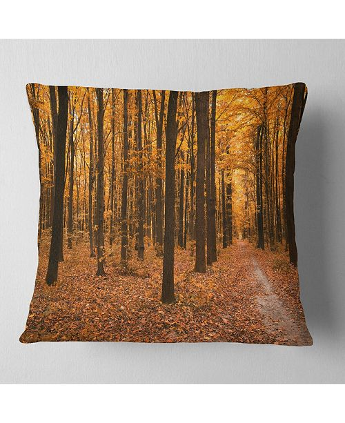 "Design Art Designart Yellow Trees And Fallen Leaves Modern Forest Throw Pillow - 18"" X 18"""
