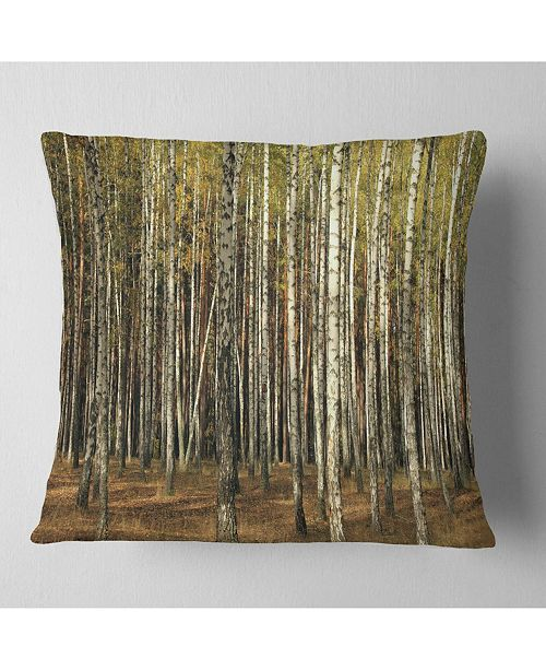 """Design Art Designart Green Fall Forest With Thick Trees Forest Throw Pillow - 16"""" X 16"""""""