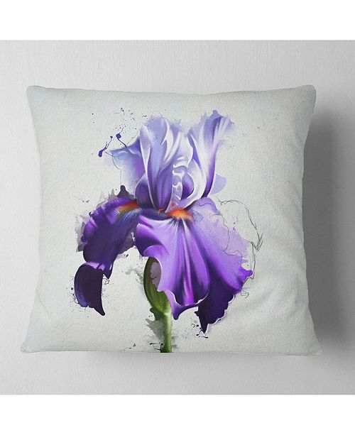 "Design Art Designart Beautiful Blue Iris Watercolor Sketch Floral Throw Pillow - 16"" X 16"""