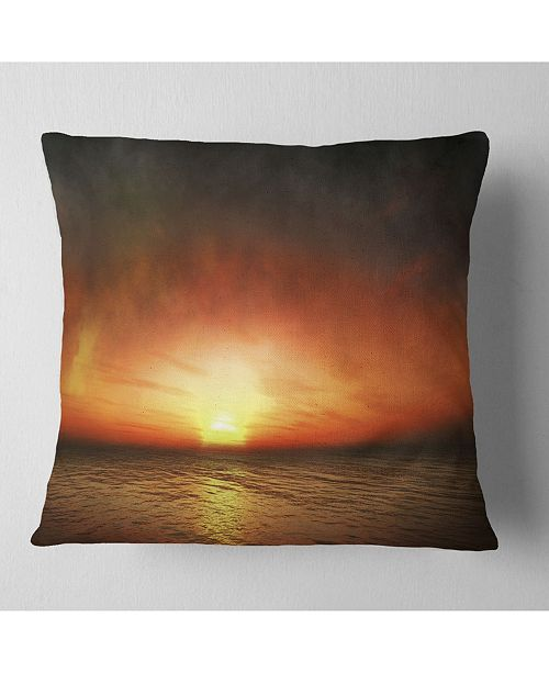 "Design Art Designart Fiery Sunset Beach Under Cloudy Sky Modern Seashore Throw Pillow - 16"" X 16"""