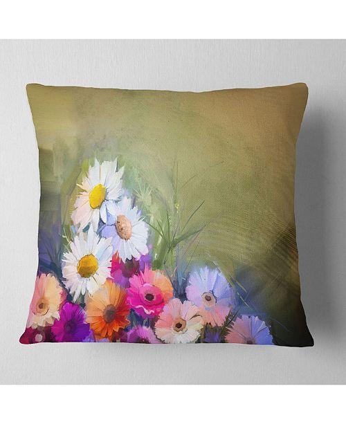 """Design Art Designart White Sunflower And Gerbera Flowers Floral Throw Pillow - 16"""" X 16"""""""