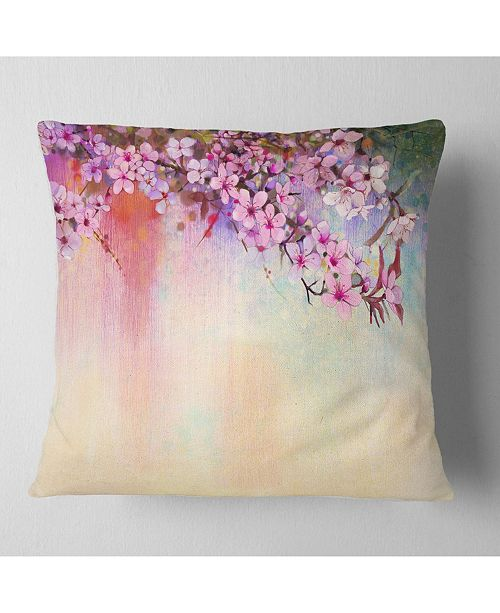 "Design Art Designart Watercolor Painting Cherry Blossoms Floral Throw Pillow - 18"" X 18"""