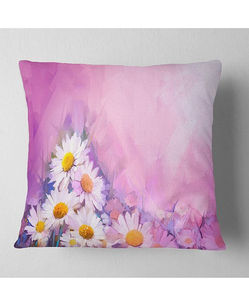 "Design Art Designart Bouquet Of White Gerbera And Daisy Floral Throw Pillow - 18"" X 18"""