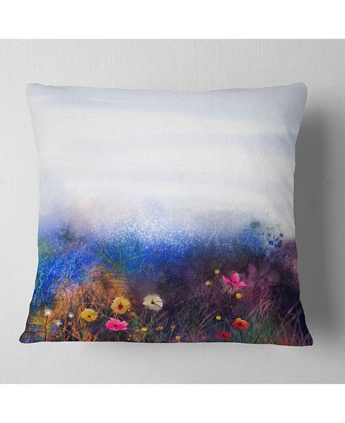 """Design Art Designart Watercolor Painting Flower In Meadow Floral Throw Pillow - 16"""" X 16"""""""