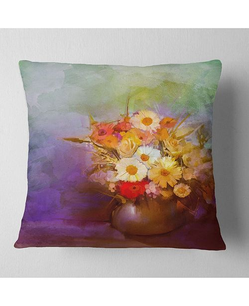 "Design Art Designart Bouquet Of Small Flowers Watercolor Floral Throw Pillow - 16"" X 16"""