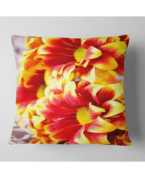 "Design Art Designart Red Yellow Flower Background Photo Floral Throw Pillow - 16"" X 16"""
