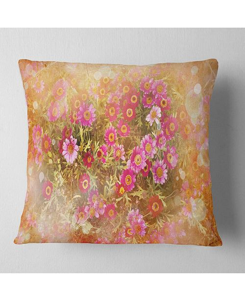 "Design Art Designart Spring Background With Little Flowers Floral Throw Pillow - 16"" X 16"""