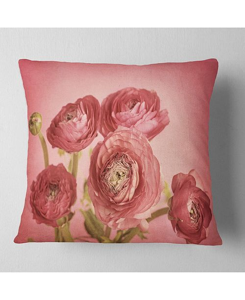 "Design Art Designart Bunch Of Ranunculus Flowers On Pink Floral Throw Pillow - 16"" X 16"""